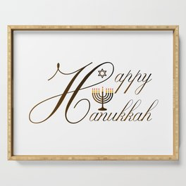 Happy Hanukkah- Jewish holiday celebration with star of David Serving Tray