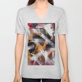 Abs orange black and white Unisex V-Neck