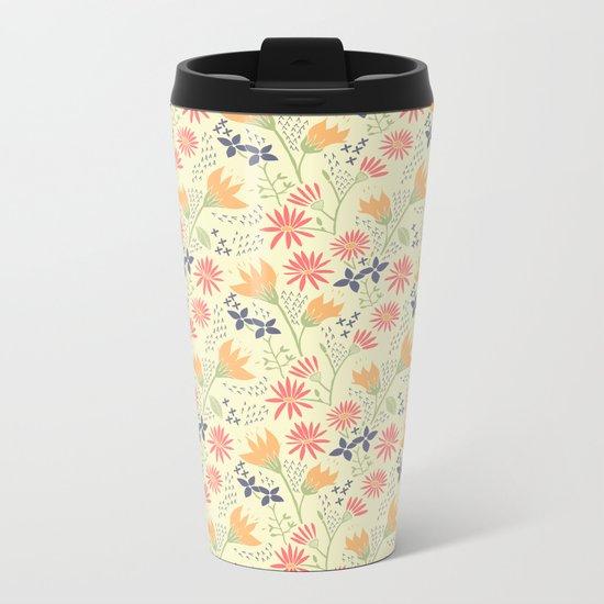 Autumn Floral Pattern Metal Travel Mug