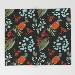 Australian Botanicals - Black Throw Blanket
