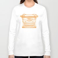 typewriter Long Sleeve T-shirts featuring Typewriter by Jessica's Illustrationart