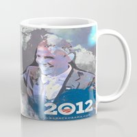 obama Mugs featuring Obama 2012 by Ron Jones The Artist