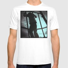 Climbing the Grid MEDIUM White Mens Fitted Tee