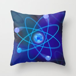 Blue Atomic Structure Throw Pillow