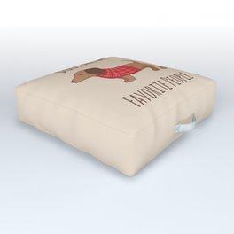 Dachshund Wiener Dog in Red Plaid Sweater Outdoor Floor Cushion