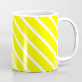 Neon Yellow Diagonal Stripes Coffee Mug