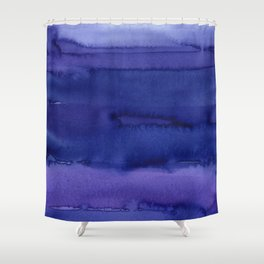 Blue Violet Watercolor Horizontal Stripes Abstract Shower Curtain