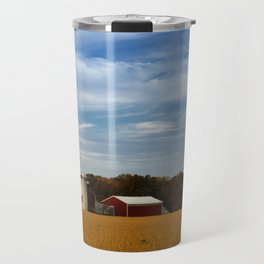 Rural Farmhouse Landscape Photograph Red Barn in Golden Field Travel Mug