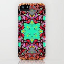 Aqua Red and Gold Star Mandala Magic Carpet iPhone Case