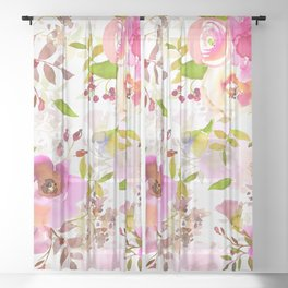 Pink Watercolor Spring Florals Sheer Curtain