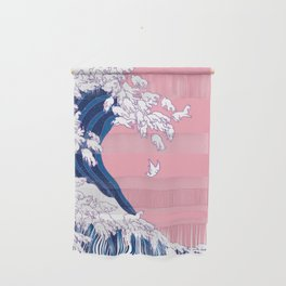 Llama Waves in Pink Wall Hanging