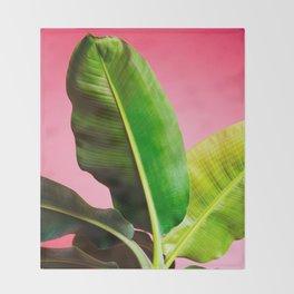 Banana Palm on Pink Throw Blanket