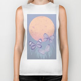 Moonrise Meadow Butterflies Biker Tank