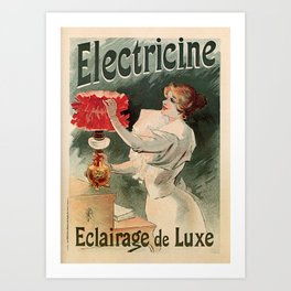 Electricine, French luxury lighting vintage ad Art Print