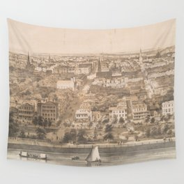 Vintage Pictorial Map of Charleston SC (1851) Wall Tapestry