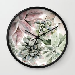 Circular Succulent Watercolor Wall Clock