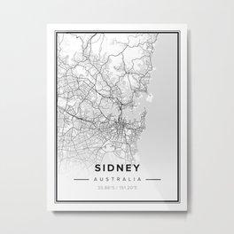 Sidney Modern Map Metal Print