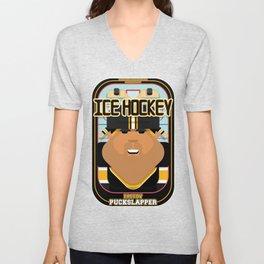Ice Hockey Black and Yellow - Faceov Puckslapper - Seba version Unisex V-Neck
