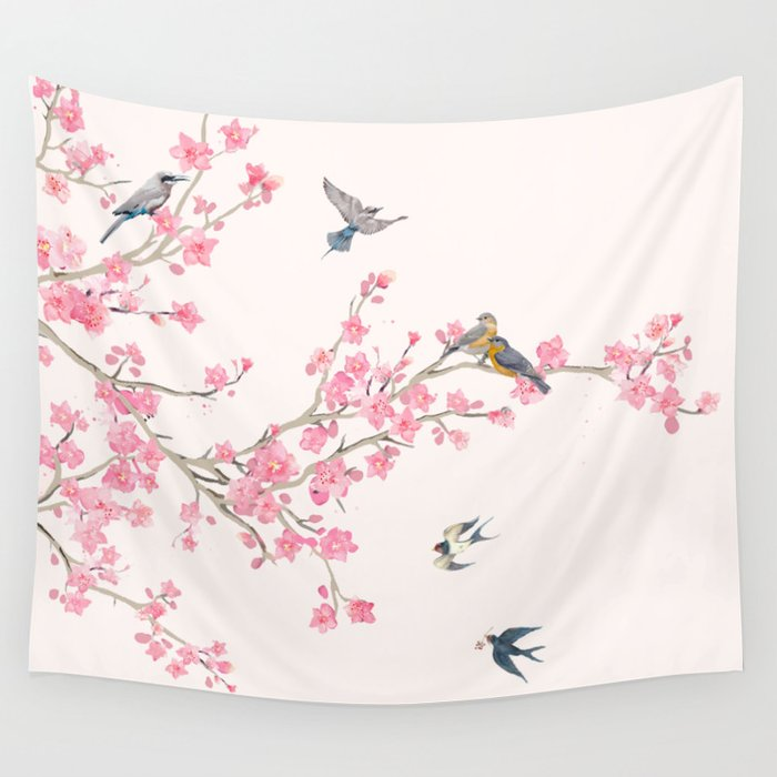 Birds And Cherry Blossoms Wall Tapestry
