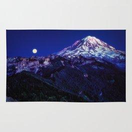 Mt Rainier Sunset and Full Moon 2017 Rug