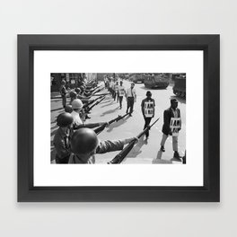 U.S. National Guard troops block Beale Street as African American civil rights marchers wear 'I am a man' placards  Framed Art Print