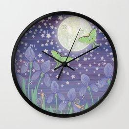 Moonlit stars, luna moths, snails, & irises Wall Clock