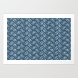 Linen Off White Wavy Tessellation Line Pattern on Blue - 2020 Color of the Year Chinese Porcelain Art Print