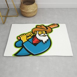 Miner Baseball Player Mascot Rug