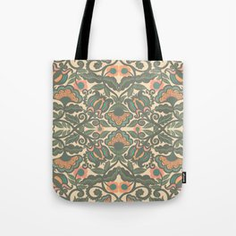 Green Vines Folk Art Flowers Pattern Tote Bag