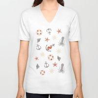 nautical V-neck T-shirts featuring Nautical by Schwebewesen • Romina Lutz
