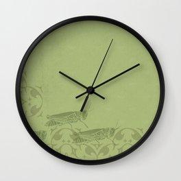 Insectology:  Grasshopper Botanical Stencil Print Wall Clock