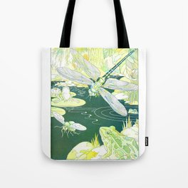 Nature Pond scene with a Dragonfly, Frogs & a Hornet by Harrison Cady Tote Bag