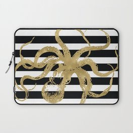 Gold Octopus on Black & White Stripes Laptop Sleeve
