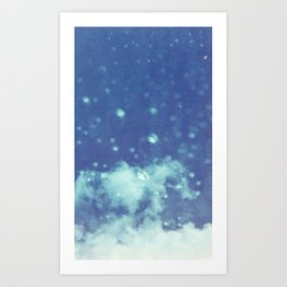 Blue and purple bubble clouds II Art Print
