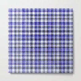 Blue White and Black Fuzzy Tartan Pattern Metal Print