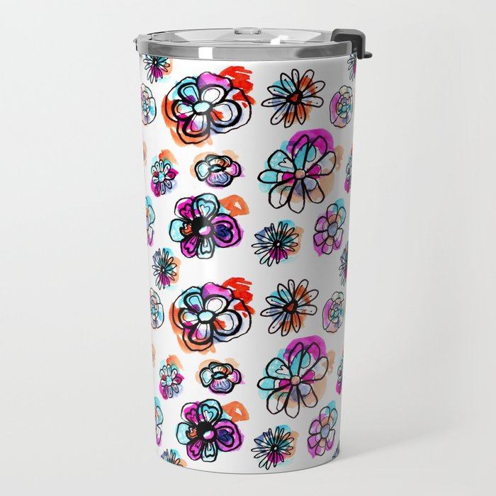 colorful fall floral Travel Mug