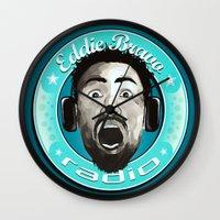 eddie vedder Wall Clocks featuring Eddie Bravo Radio podcast by Domen Colja