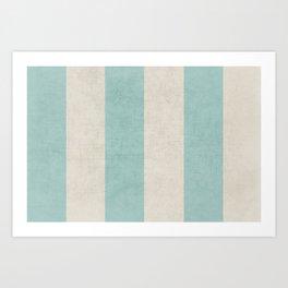 vintage robins egg blue stripes Art Print