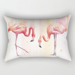 Two Flamingos Watercolor Tropical Birds Animals Rectangular Pillow