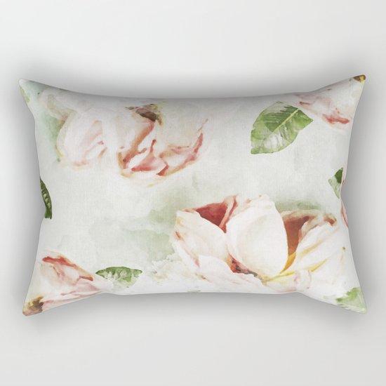 Roses & Foliage Watercolor Rectangular Pillow