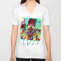 rug V-neck T-shirts featuring rug by liisa kruusmägi