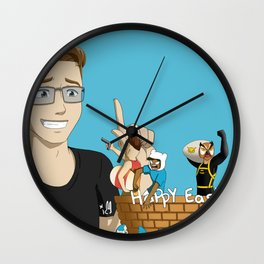 Banana bus Squad in Easter egg hunt Wall Clock