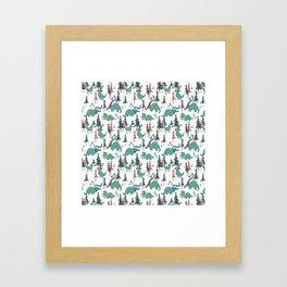 Dinosaur Hygge Framed Art Print