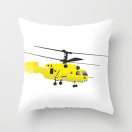 Yellow Helicopter Throw Pillow