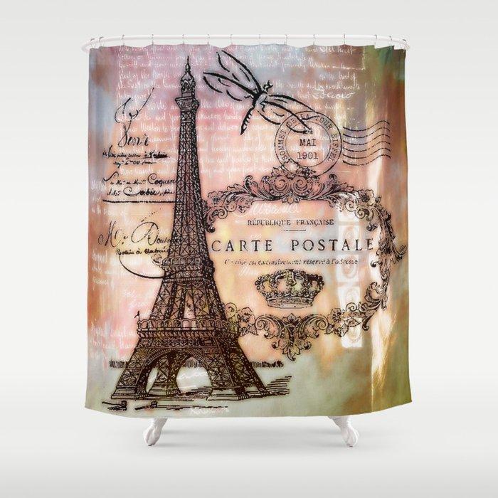 Eiffel Tower Collage Shower Curtain
