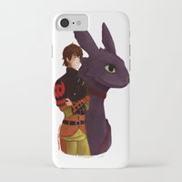 hiccup iPhone & iPod Cases featuring Hiccup and Toothless by tsunami-sand
