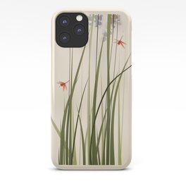 oriental style painting, tall grasses and flowers iPhone Case