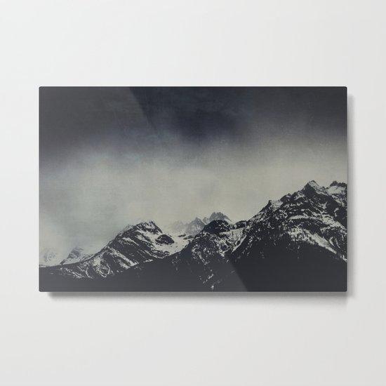 Misty dark Mountains Metal Print