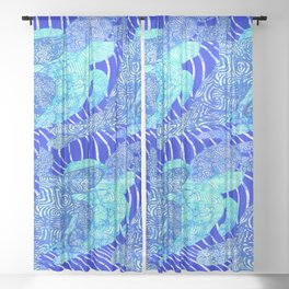 blue sea turtles Sheer Curtain