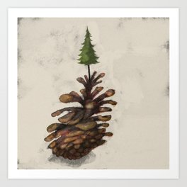 Pine Cone Tree Art Print